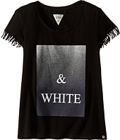 IKKS - Graphic T-Shirt with Fringe Sleeves & Metallic Graphic Detail (Big Kids)