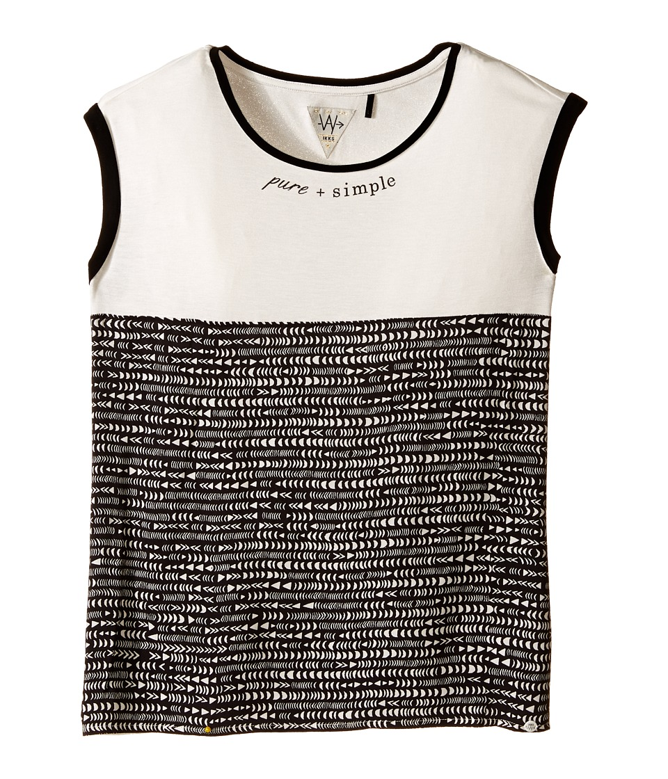 IKKS Jersey Top with All Over Print Banded Neckline Big Kids Beige Girls Sleeveless