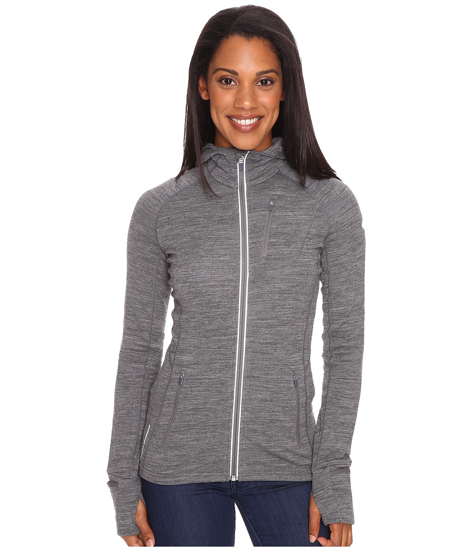 Icebreaker Quantum Long Sleeve Zip Hood (Gritstone Heather/Gritstone Heather/Gritstone Heather) Women