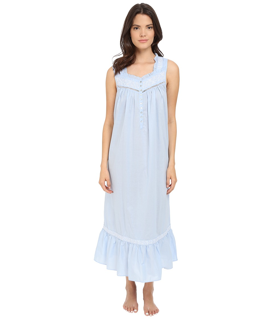 Eileen West Ballet Nightgown Solid Periwinkle Lawn/White Floral Womens Pajama