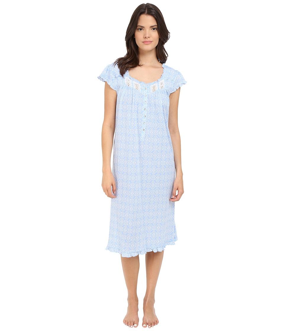 Eileen West Waltz Nightgown Dark Peri Ground/White Hearts Womens Pajama