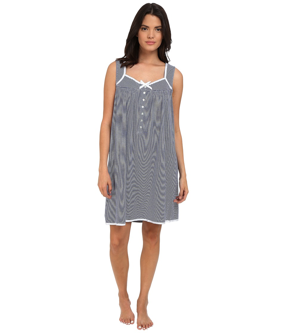 Eileen West Short Chemise Navy/White Stripe Yarndye Womens Pajama