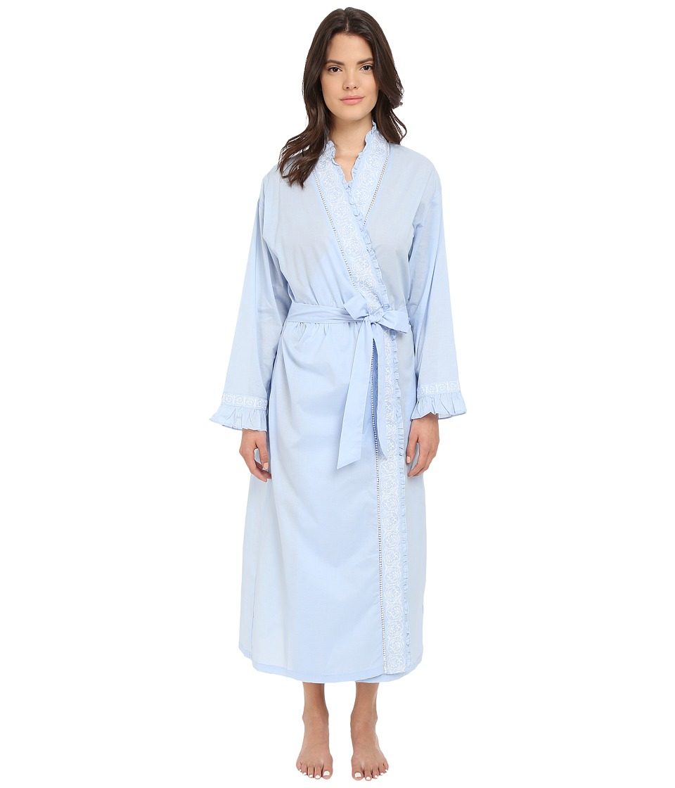 Eileen West Ballet Wrap Robe Solid Periwinkle Lawn/White Floral Womens Robe
