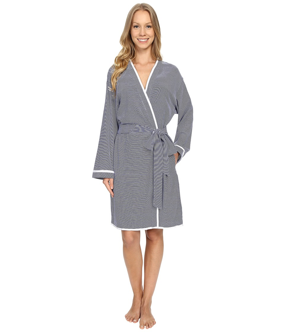 Eileen West Short Wrap Robe Navy/White Stripe Yarndye Womens Robe