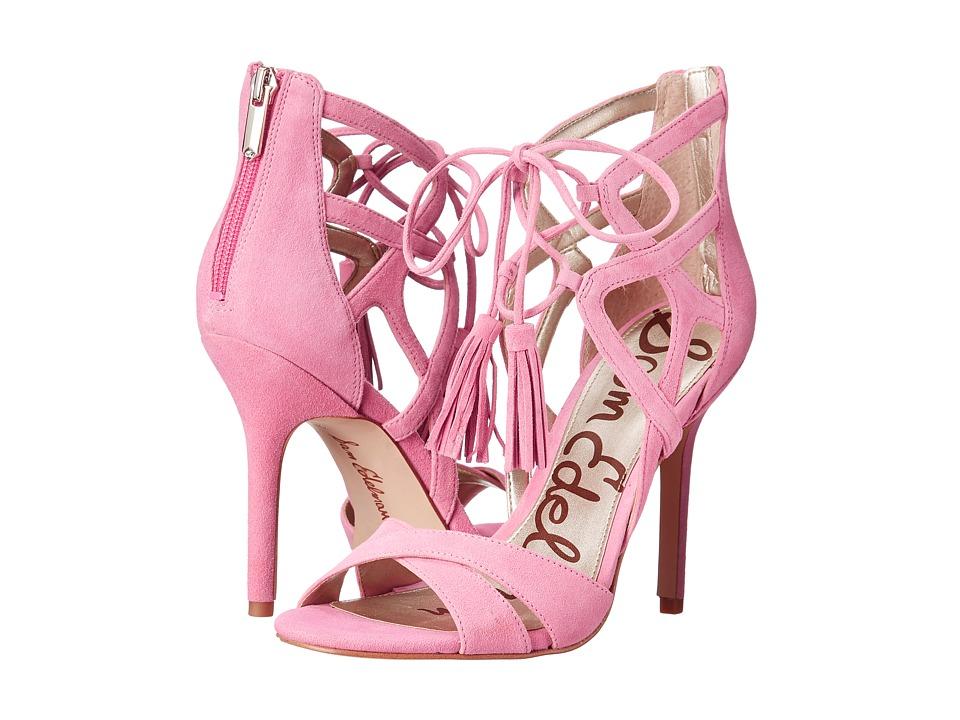 Sam Edelman Azela Bubblegum Pink Kid Suede Leather High Heels