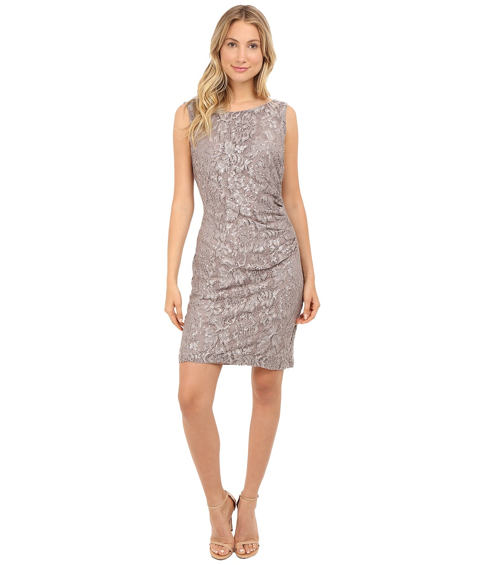 rsvp Becca Lace Dress with Rouche Side Grey Womens Dress