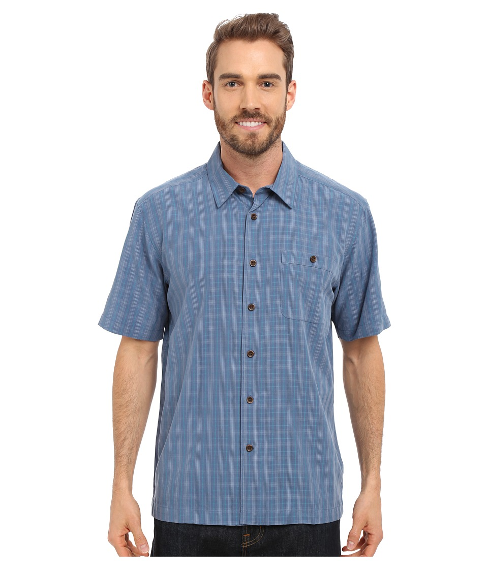 Quiksilver Waterman Banyon Woven Top Ensign Blue Mens Short Sleeve Button Up