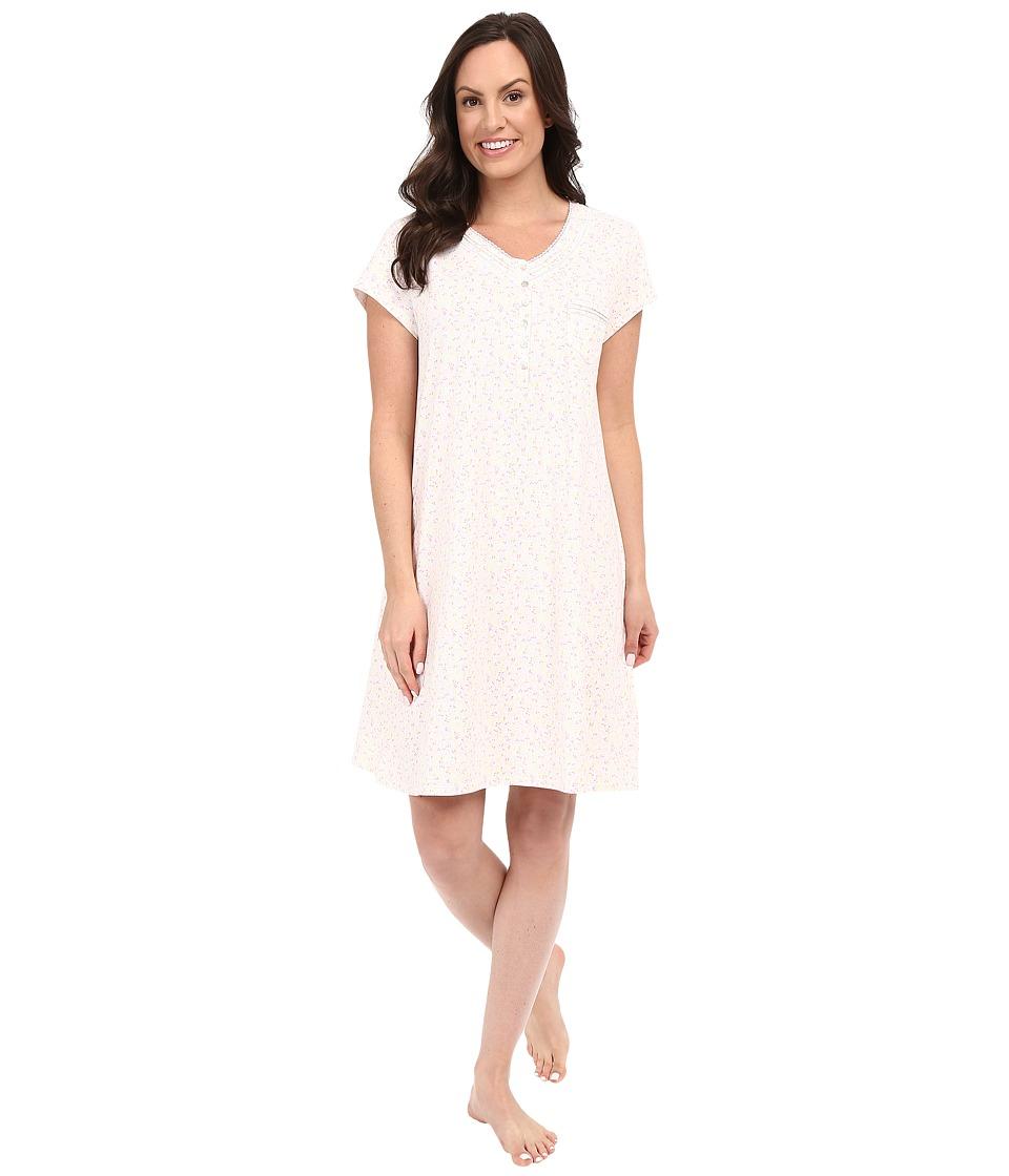 Eileen West Short Nightshirt White Ground/Multi Ditsy Womens Pajama