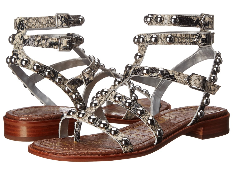 Sam Edelman Eavan Putty Shiny Burmese Python Print Leather Womens Sandals