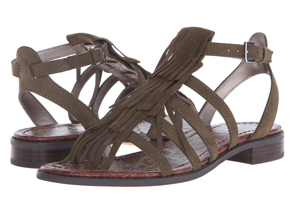 Sam Edelman Estelle Moss Green Kid Suede Leather Womens Sandals