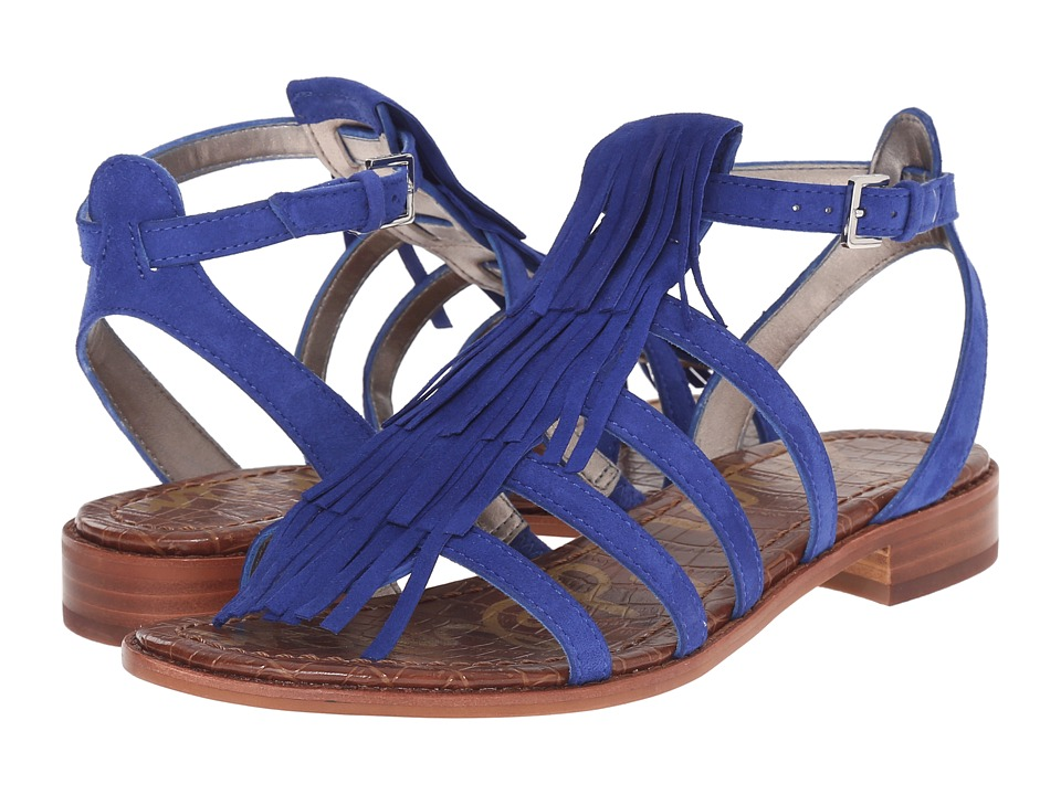 Sam Edelman Estelle Sailor Blue Kid Suede Leather Womens Sandals