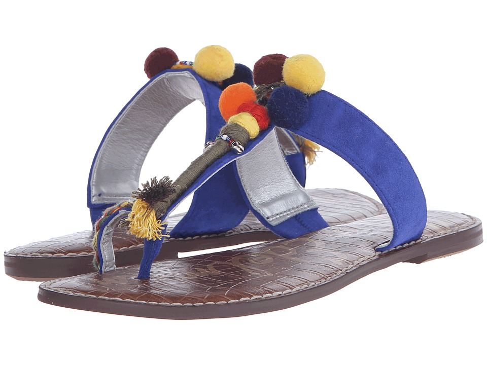 Sam Edelman Gemina Sailor Blue Kid Suede Leather Womens Sandals