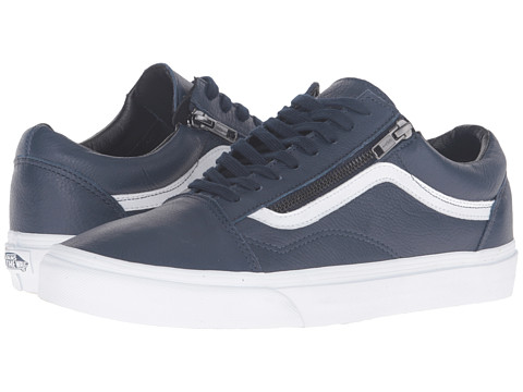 Vans Old Skool™ Zip - (Antique Leather) Dress Blues/True White
