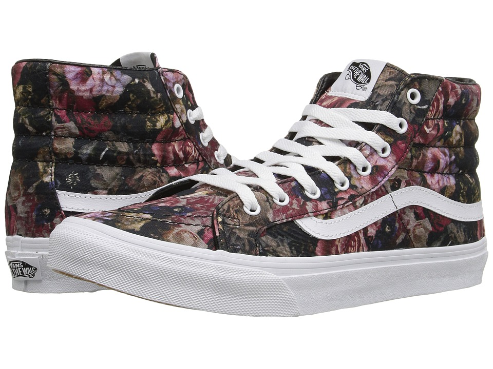 SK8-Hi Slim ((Moody Floral) Black/True White) Skate Shoes