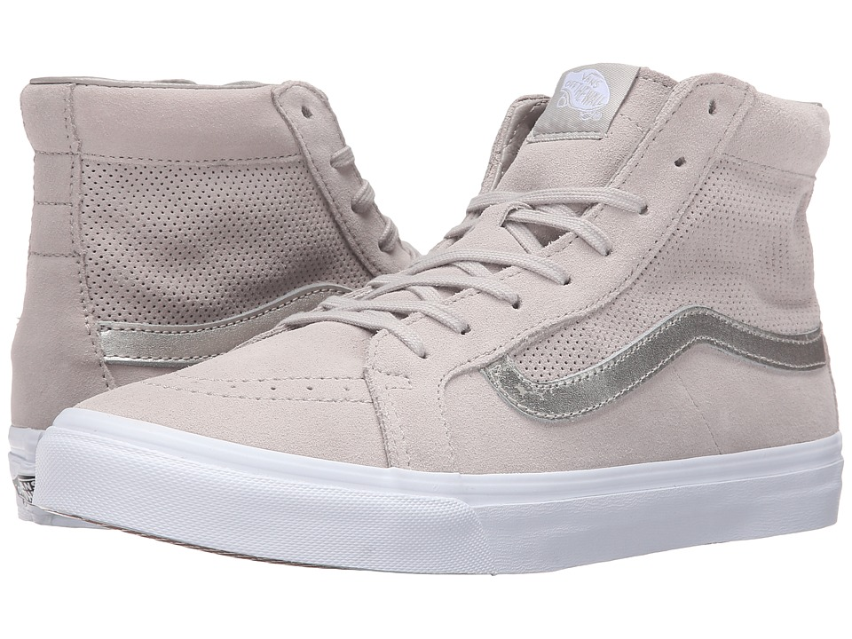 SK8-Hi Slim Cutout ((Perf Suede) Silver Cloud/True White) Shoes