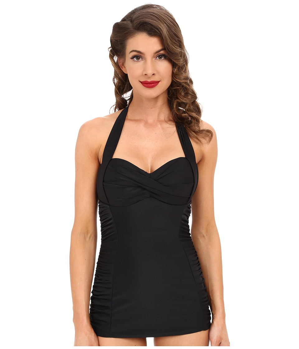 Unique Vintage - Halter Sheath Corine One-Piece Black Womens Swimsuits One Piece $78.00 AT vintagedancer.com
