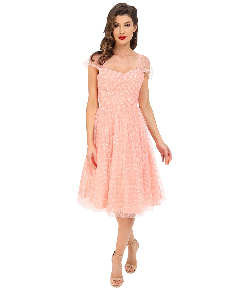 Unique Vintage - Chiffon Garden State Party Dress Peach Dot Womens Dress $138.00 AT vintagedancer.com