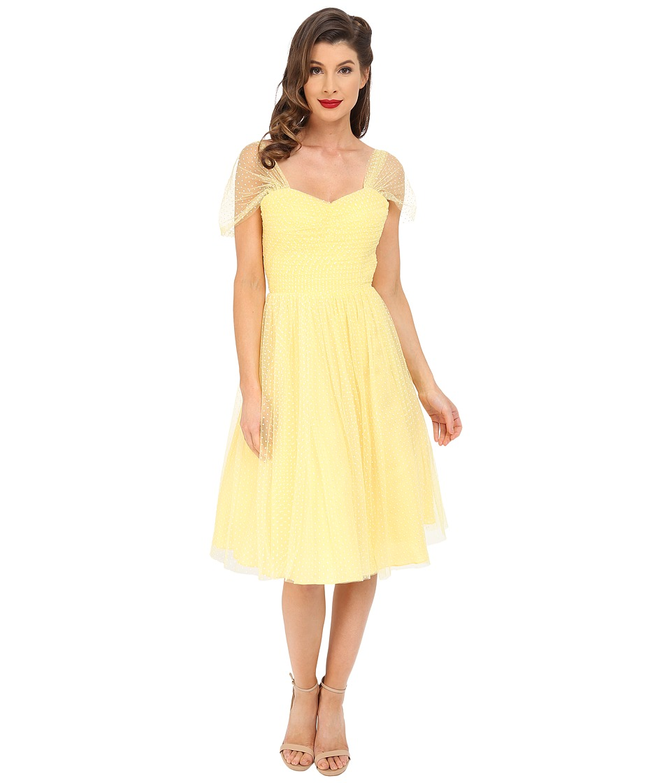 Unique Vintage - Chiffon Garden State Party Dress Yellow Dot Womens Dress $138.00 AT vintagedancer.com