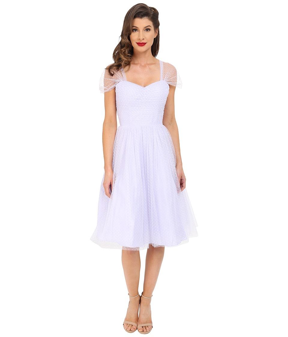Unique Vintage - Chiffon Garden State Party Dress Lavender Dot Womens Dress $138.00 AT vintagedancer.com