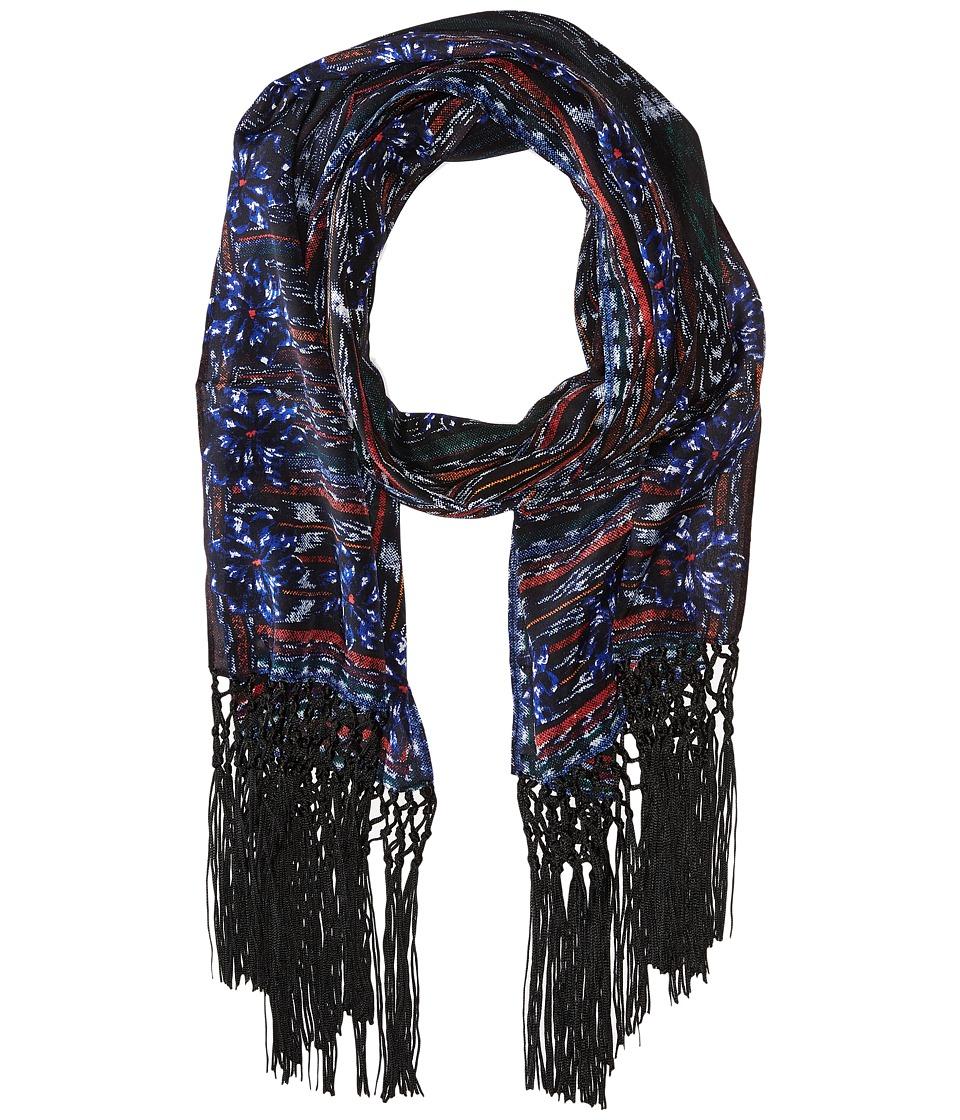 BCBGMAXAZRIA Aztec Weave Oblong Black Scarves