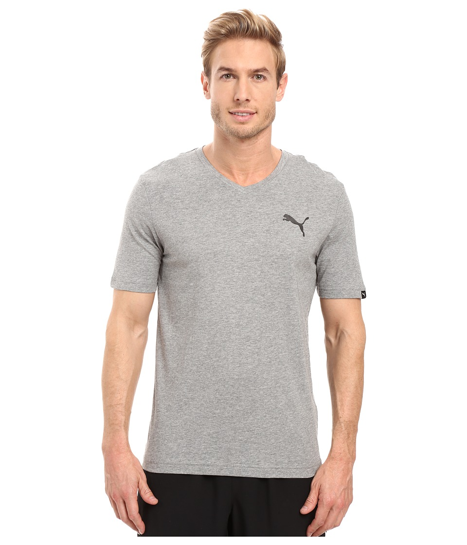PUMA Iconic V-Neck Tee (Medium Gray Heather) Men