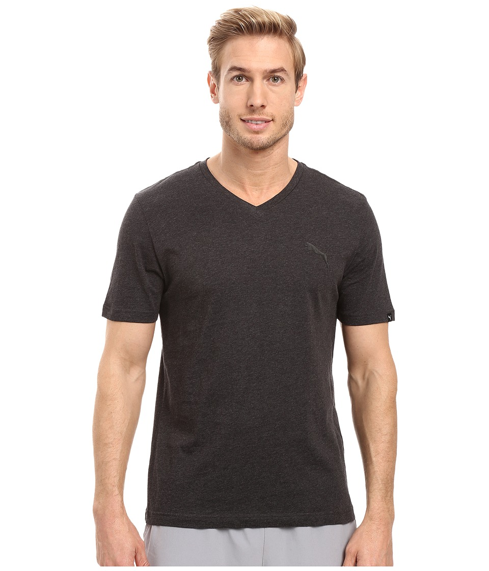 PUMA Iconic V-Neck Tee (Dark Gray Heather) Men