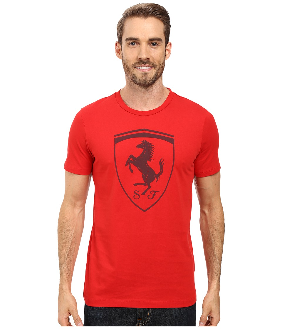 PUMA - Ferrari Big Shield Tee (Rosso Corsa) Men