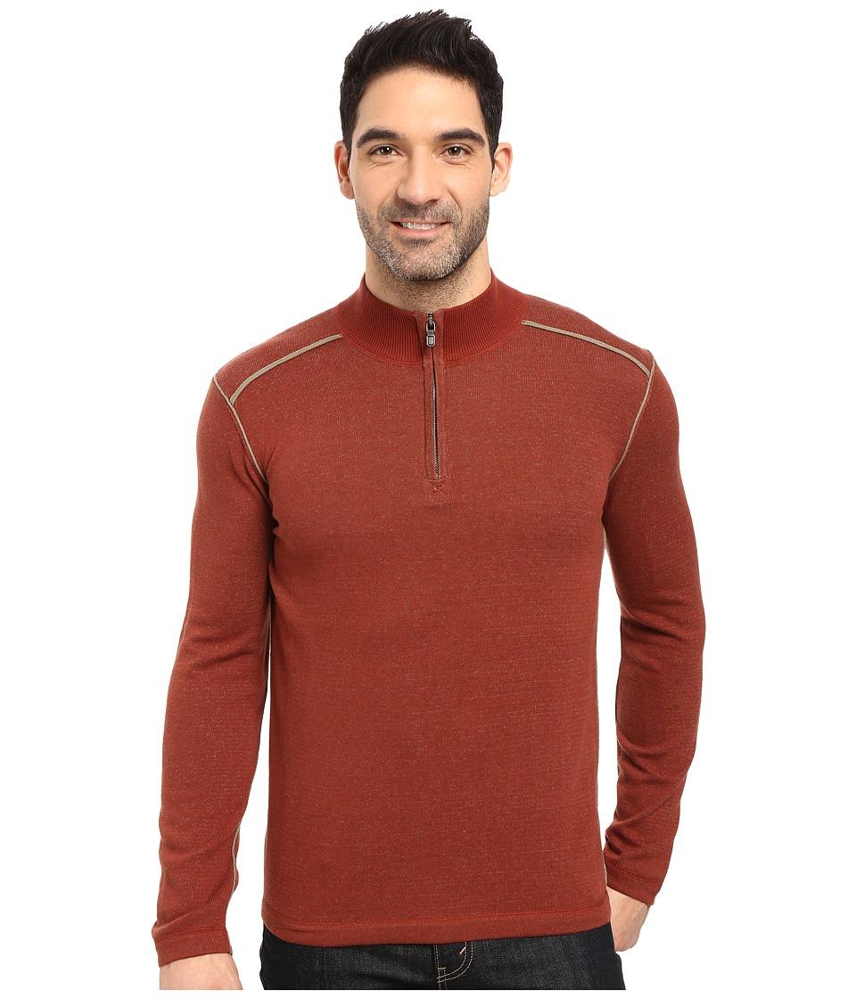 Ecoths Noah Zip Neck Sweater (Henna/Gravel) Men