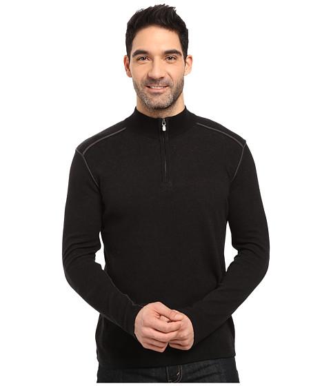 Ecoths Noah Zip Neck Sweater - Black/Dark Shadow