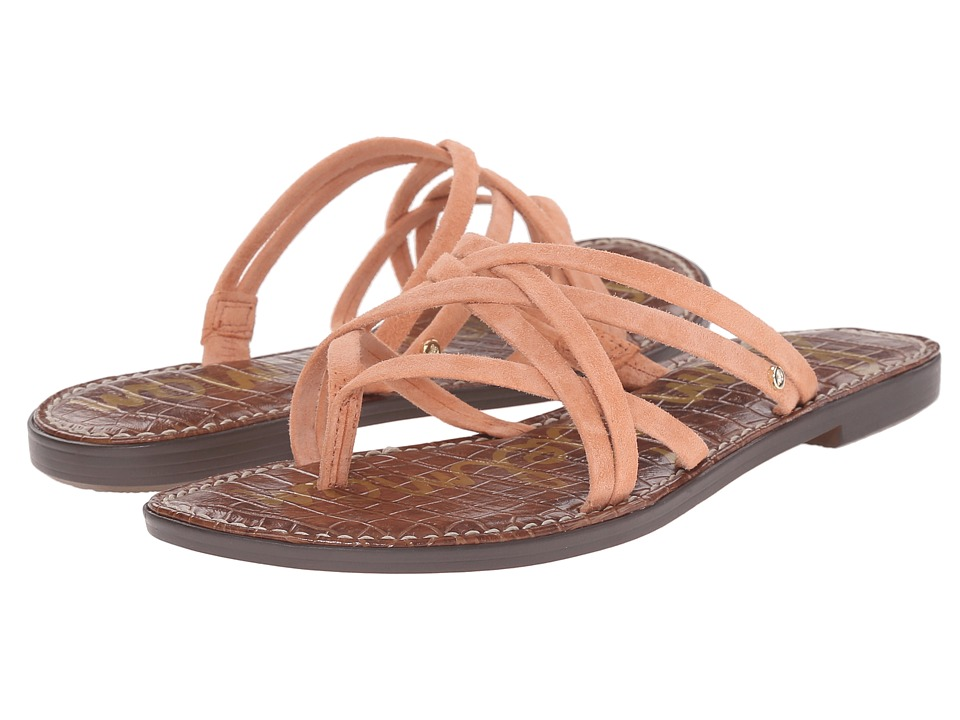 Sam Edelman Georgette Papaya Punch Kid Suede Leather Womens Sandals