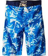 Appaman Kids - Elastic Wait and Lined Swim Trunks with Adstract Palm Tree Design (Toddler/Little Kids/Big Kids)