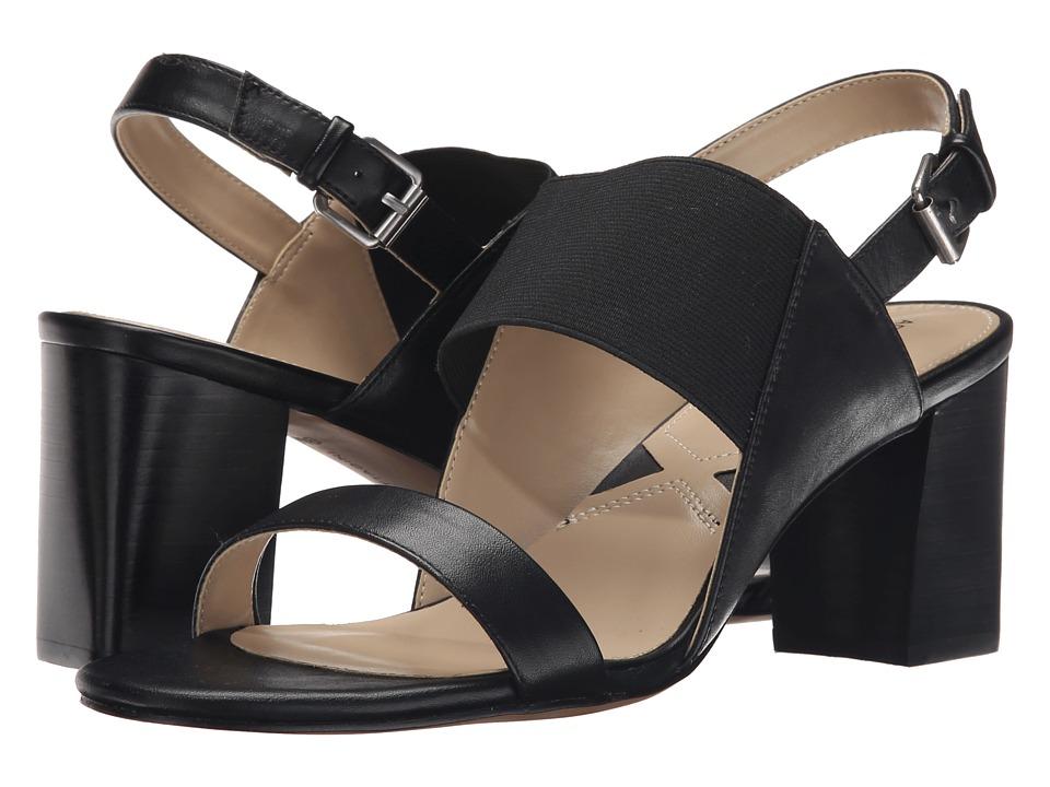 Adrienne Vittadini Panya Black Soft Calf/Stretch Womens Sandals
