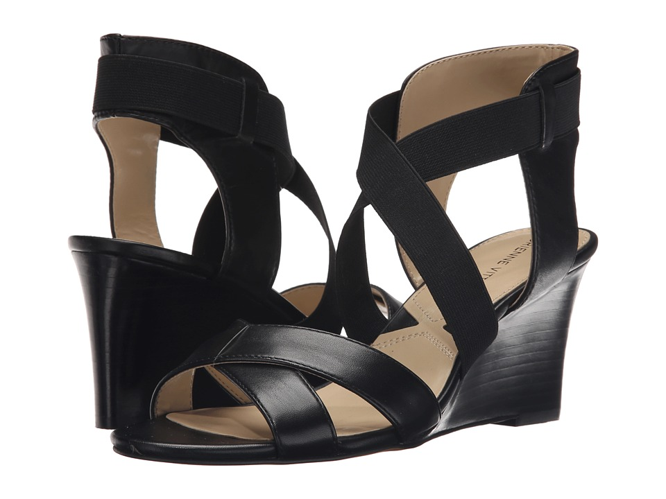 Adrienne Vittadini Raenie Black Soft Calf/Stretch Womens Sandals