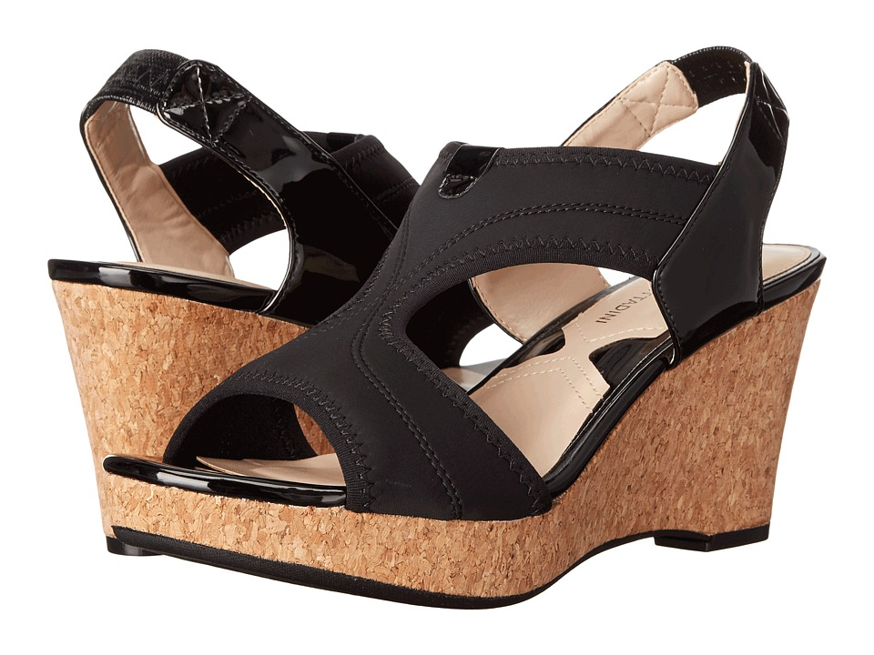 Adrienne Vittadini Carinea Black Stretch Lycra Womens Sandals
