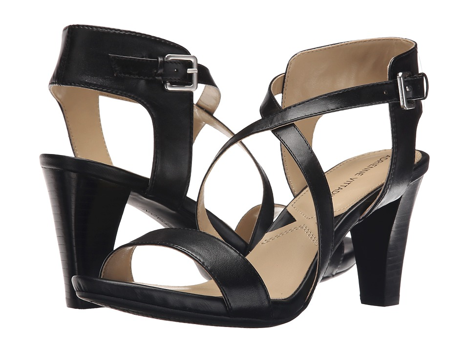 Adrienne Vittadini Briale Black Soft Calf Womens Sandals