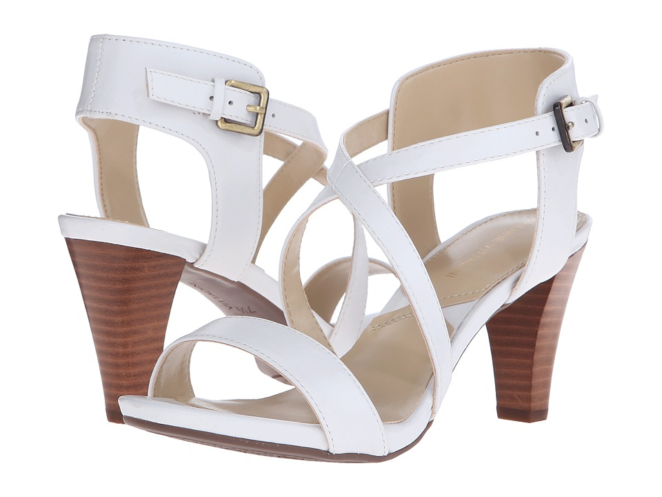 Adrienne Vittadini Briale White Soft Calf Womens Sandals
