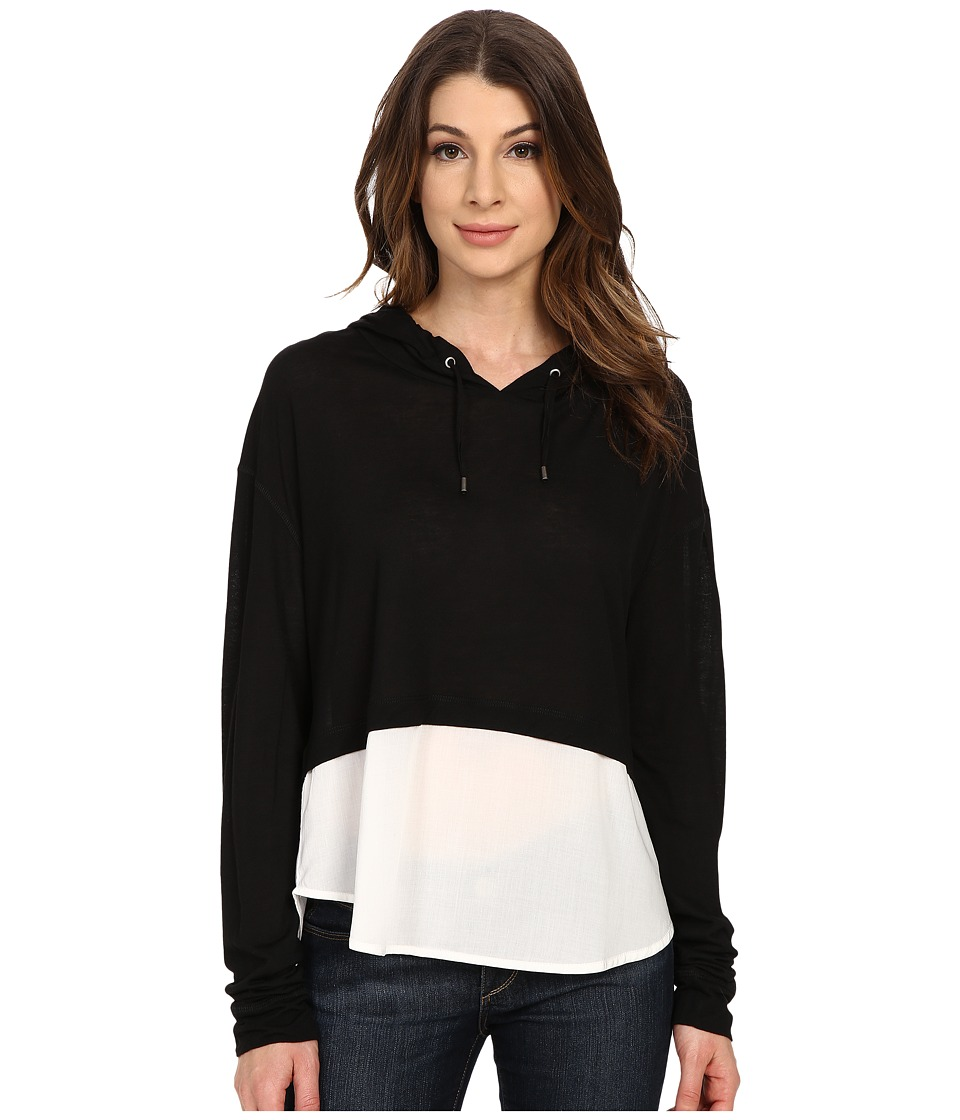 The Beginning Of Cashmere Modal Emma Blocked Hoodie Black Womens Sweatshirt