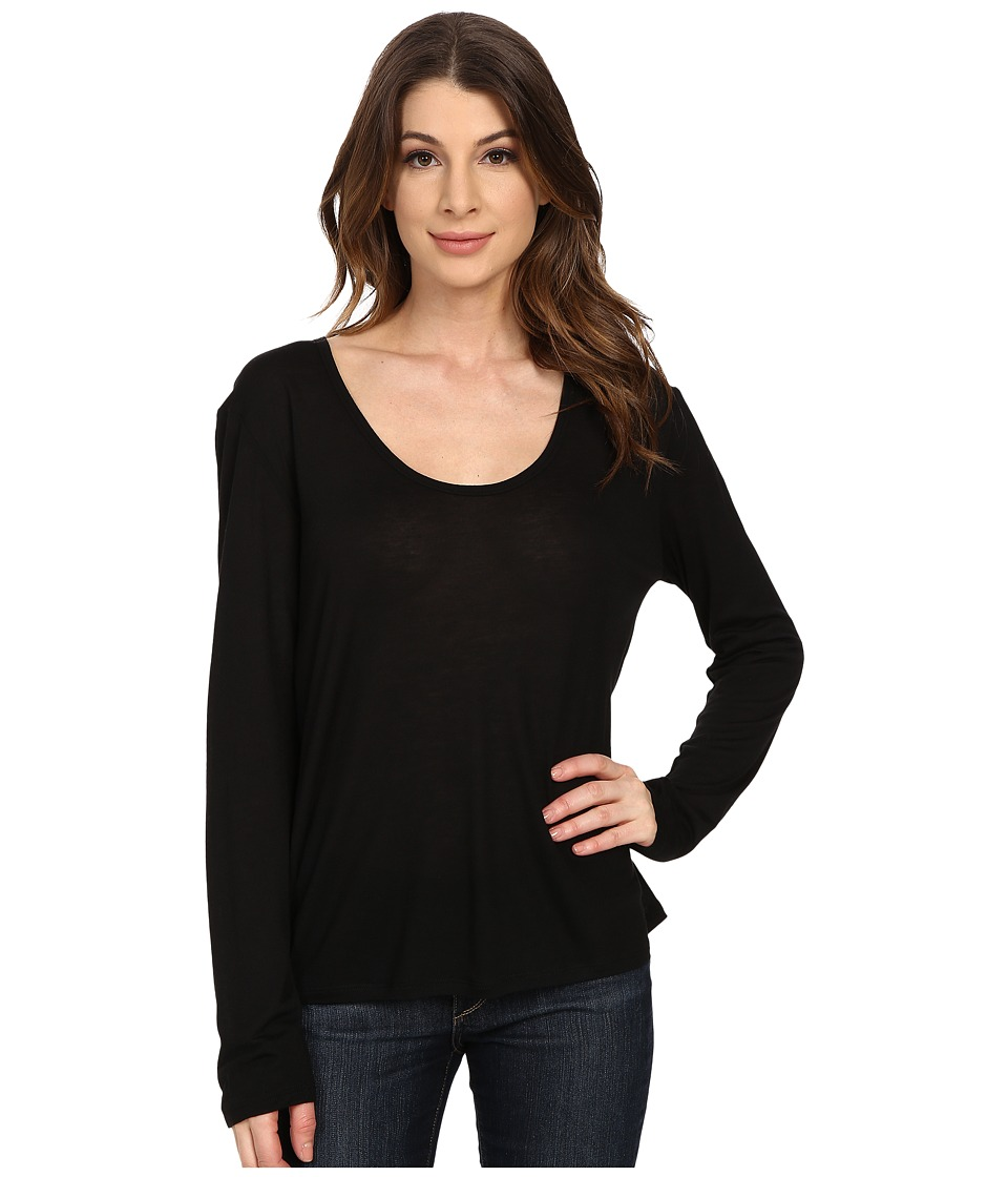 The Beginning Of Cashmere Modal Butina Long Sleeve Tee Black Womens T Shirt