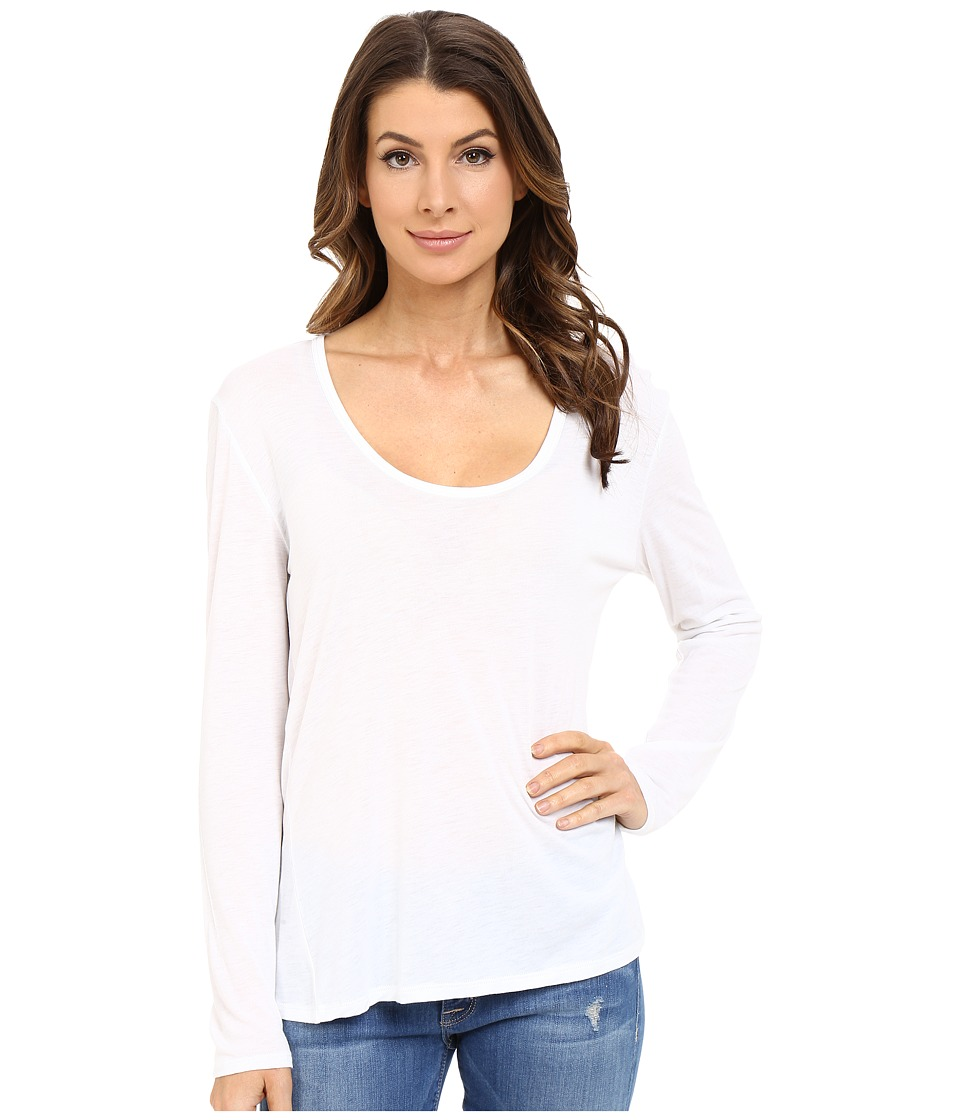 The Beginning Of Cashmere Modal Butina Long Sleeve Tee White Womens T Shirt
