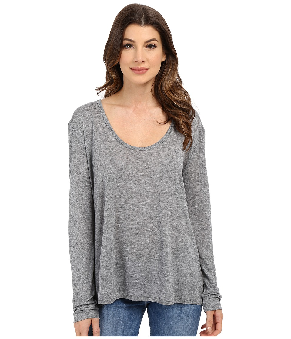 The Beginning Of Cashmere Modal Butina Long Sleeve Tee Heather Grey Womens T Shirt