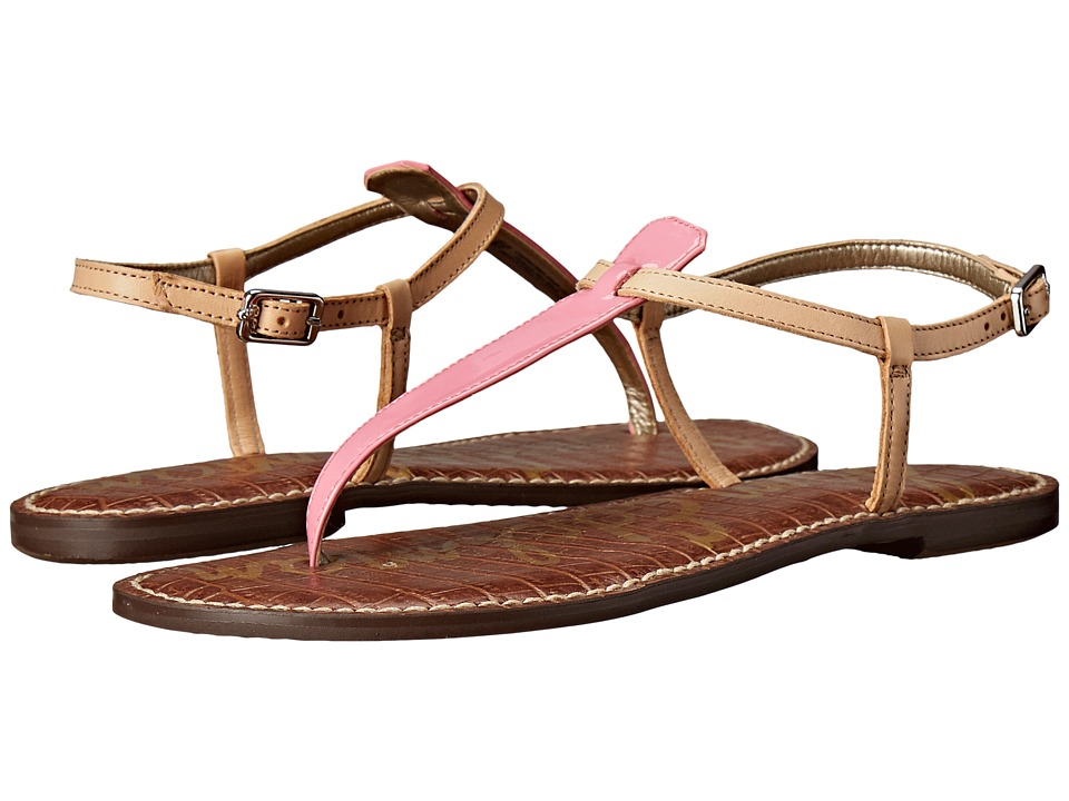 Sam Edelman Gigi (Bubblegum Pink/Natural Naked Patent/Naked Atanado Leather) Sandals