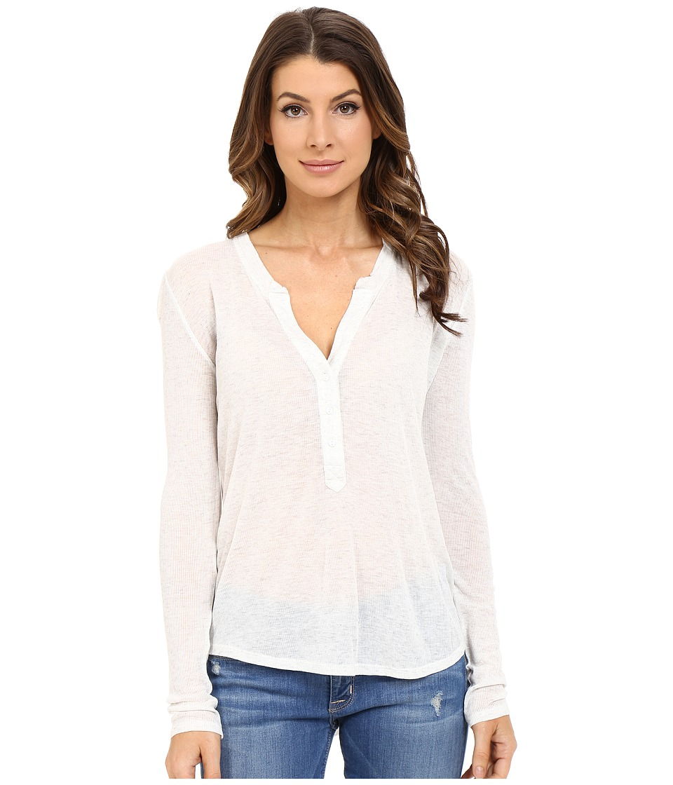 The Beginning Of - Rib Cashmere Madison Henley Tee (Snow) Women