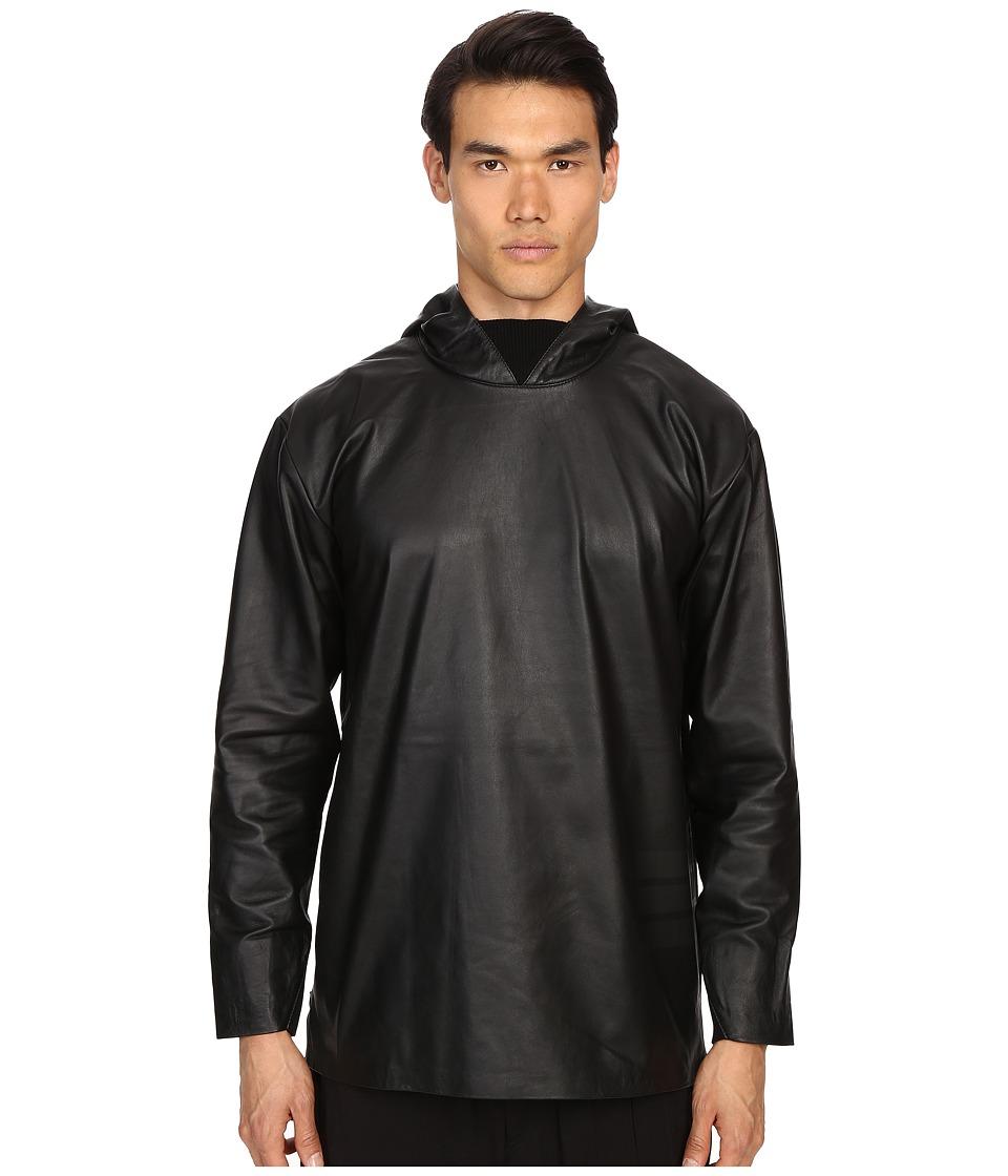 adidas Y 3 by Yohji Yamamoto Leather Hoodie Black Mens Sweatshirt