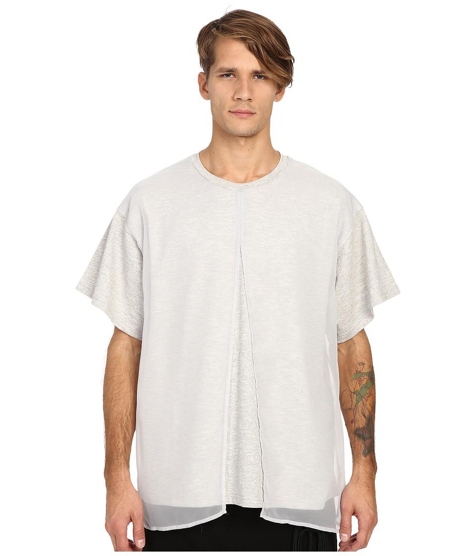 D.GNAK Front Layered T Shirt Grey Mens T Shirt