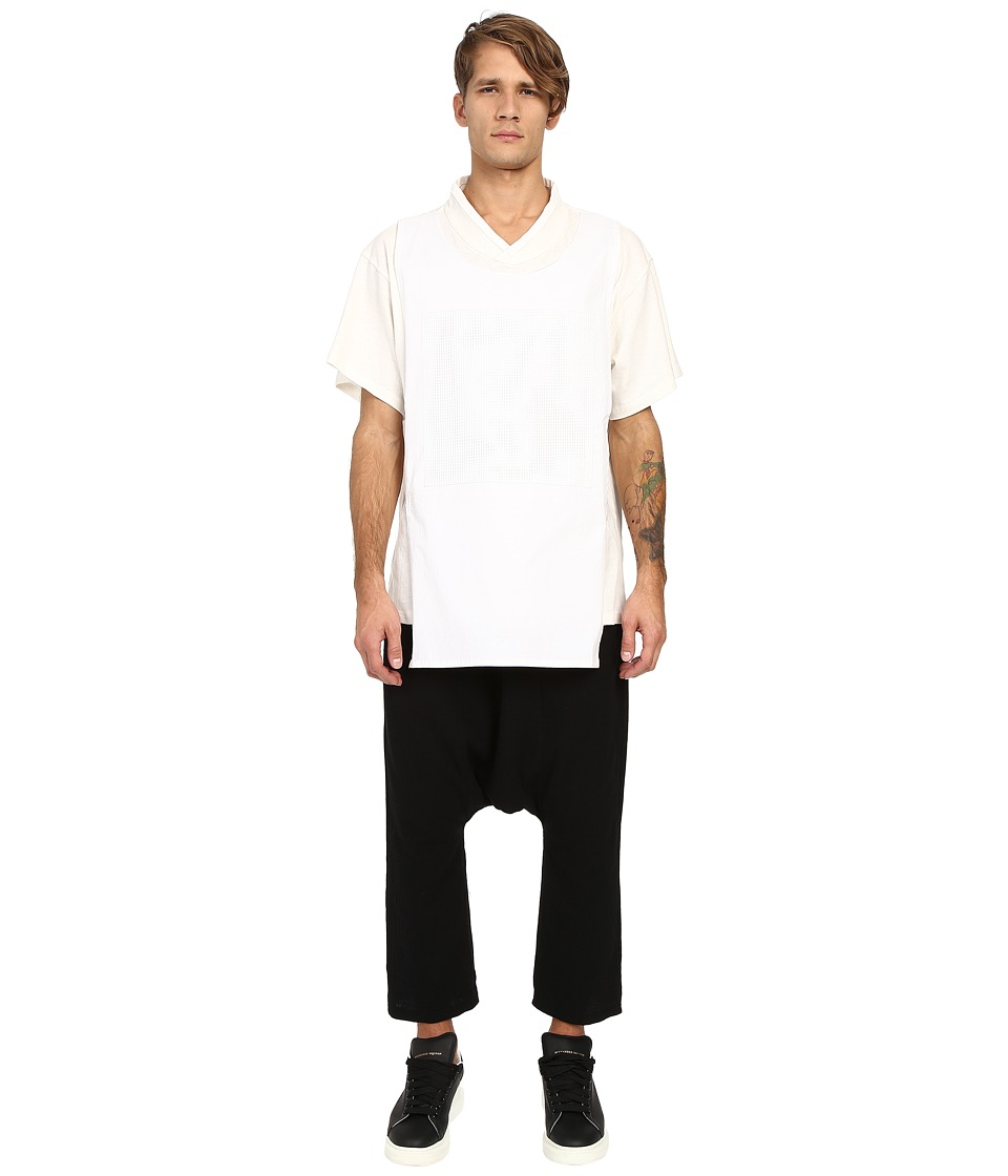 D.GNAK Traditional Collar Layered T Shirt White Mens T Shirt