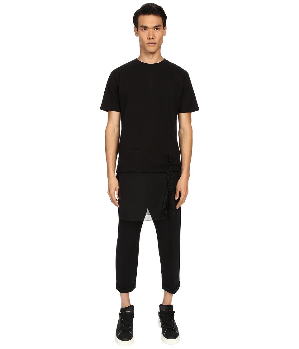 D.GNAK Layered T Shirt w/ Detachable Ornament Black Mens T Shirt