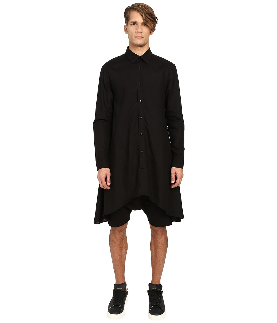 D.GNAK Draped Shirt Black Mens Clothing