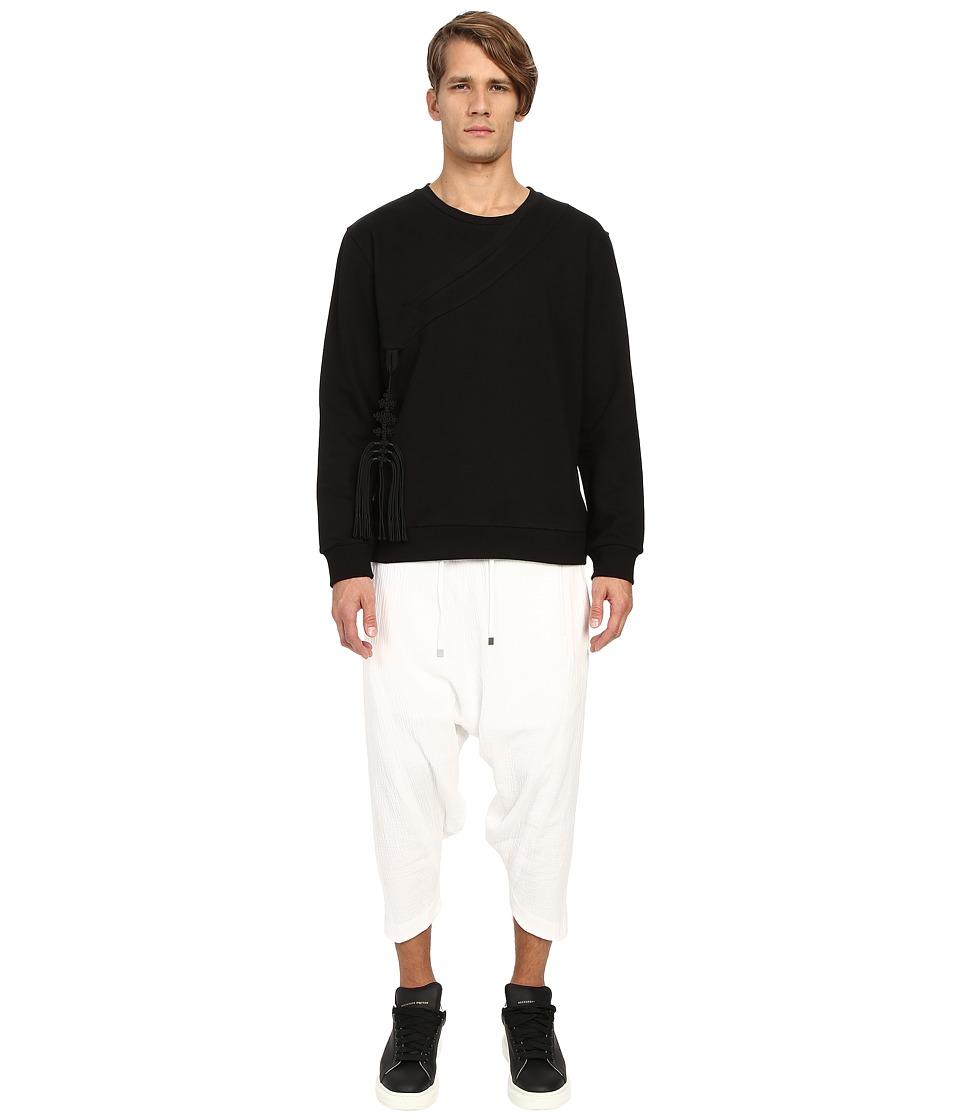 D.GNAK Traditional Collar Sweatshirt w/ Ornament Black Mens Sweatshirt