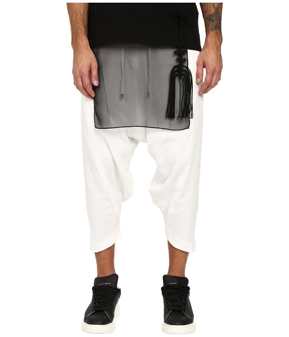 D.GNAK Diagonal Hem Cropped Pants White Mens Casual Pants