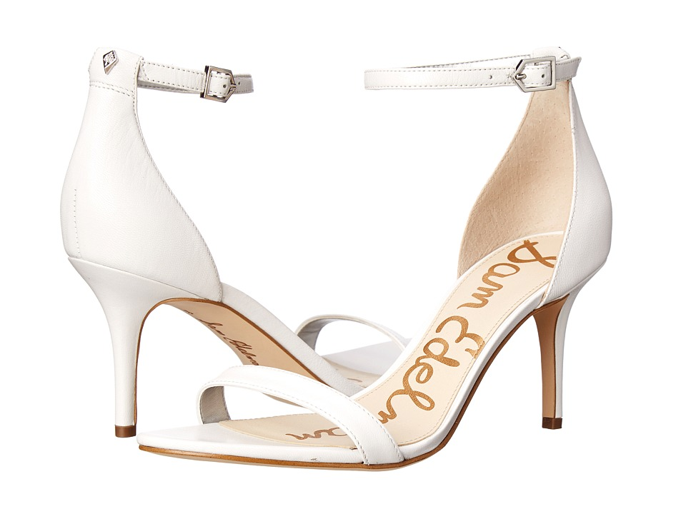 Sam Edelman Patti Strappy Sandal Heel (White Nappa Luva Leather) High Heels